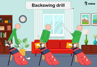 practicing backswing at home