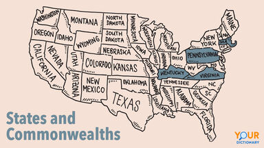 USA States Map Drawing Commonwealth vs State