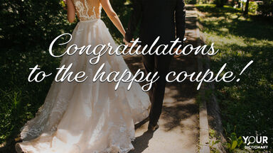 Bride And Groom As Words of Congratulations for a Wedding