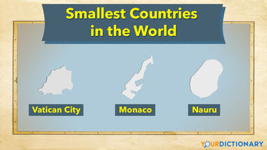 outlines of countries Vatican City, Monaco, and Nauru as smallest countries