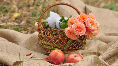 Apple and Roses in a Basket