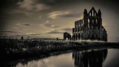 Whitby Abbey near sunset