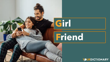 Young couple with mobile phone relaxing on sofa - GF Abbreviation