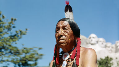 Sioux indian Lakota tribe in the Black Hills Mount Rushmore
