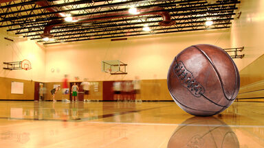 Brown leather basketball court