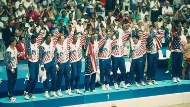 American basketball players Dream Team receive gold medal 1992 Olympics