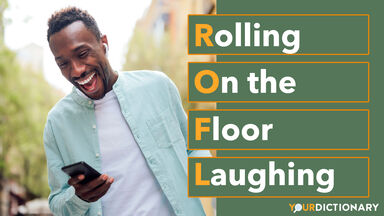 Man Laughing Using Smartphone ROFL Abbreviation Explained