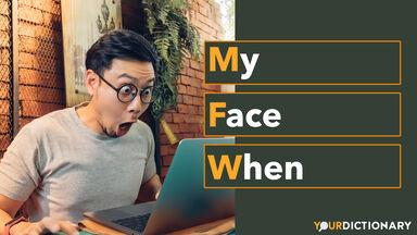 Shocked Face Man Using Laptop MFW Abbreviation Explained