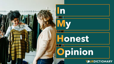 Woman Giving Opinion Clothing Options IMHO Abbreviation Explained