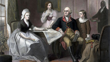 Vintage print George and Martha Washington seated at a table