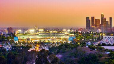 Dodger stadium and Los Angeles skyline