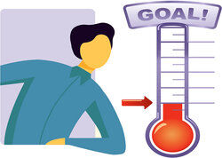 student goal setting with thermometer chart