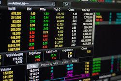 screen showing stock market information