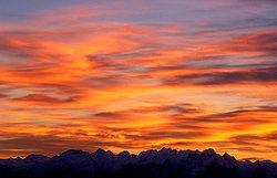 Bright red and orange sunrise