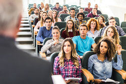 graduate students in college lecture hall