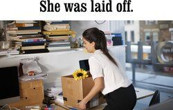 Woman moving boxes from her office
