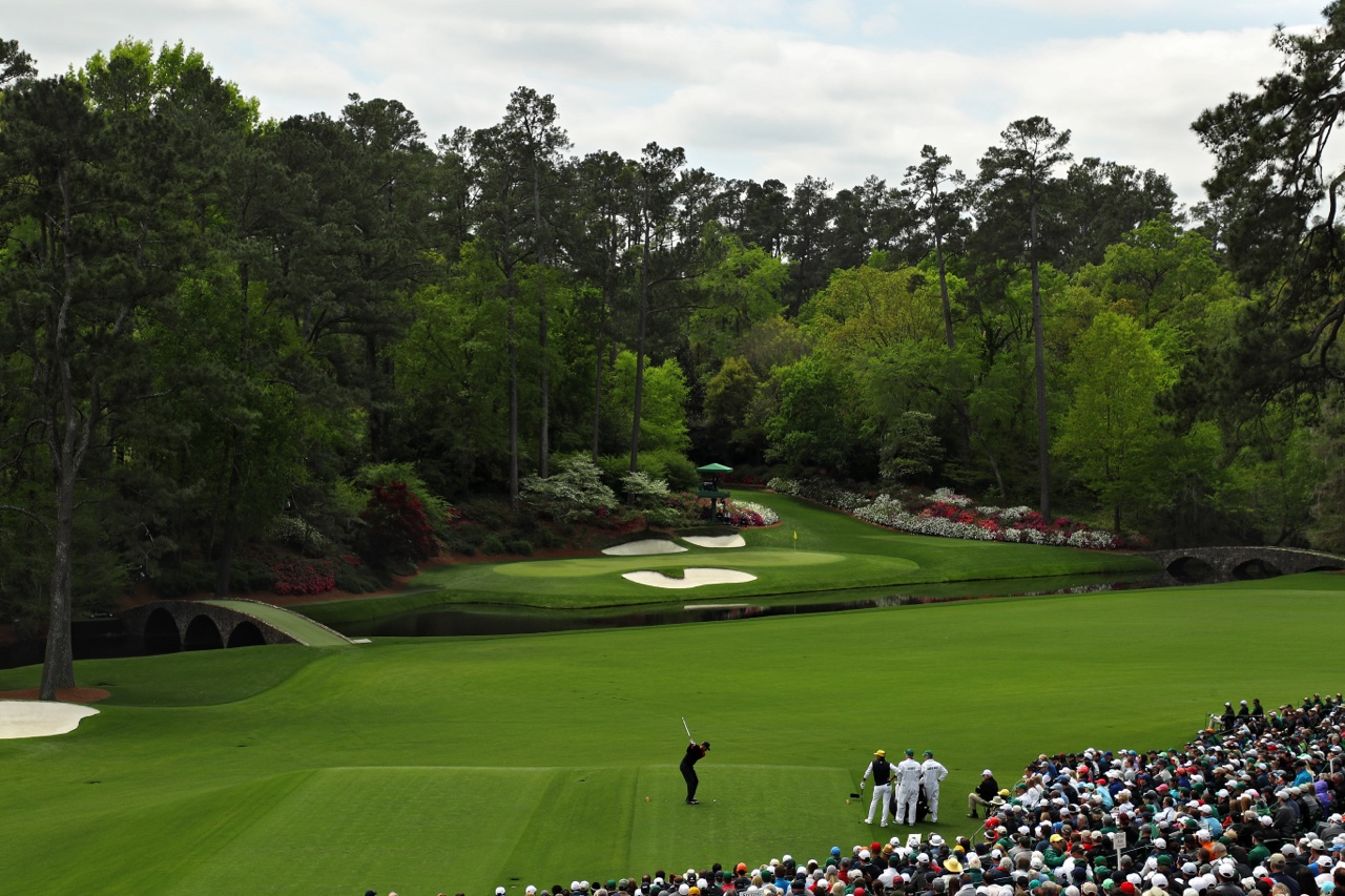Tiger Woods plays Augusta's 12th hole