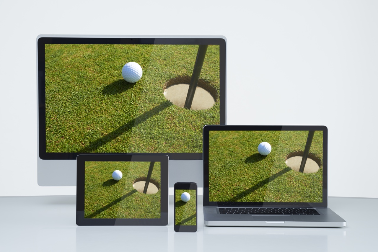 Multiple devices shown streaming live golf