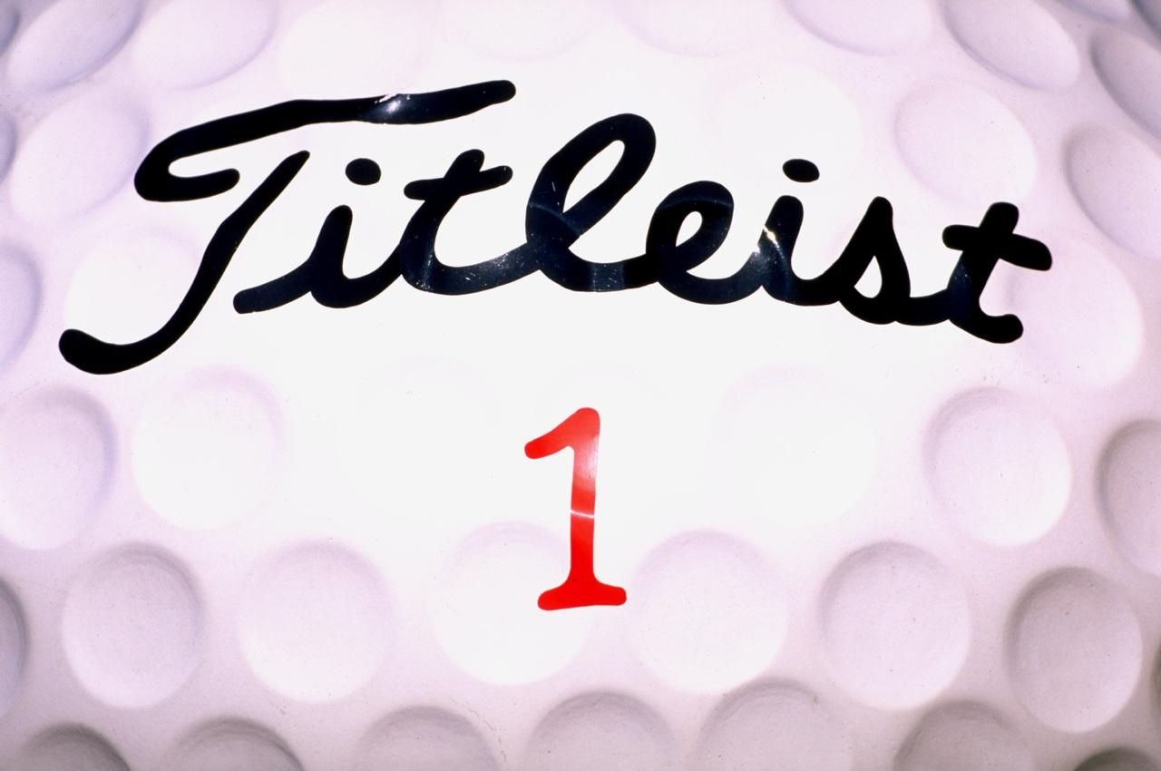 close up of titleist golf ball