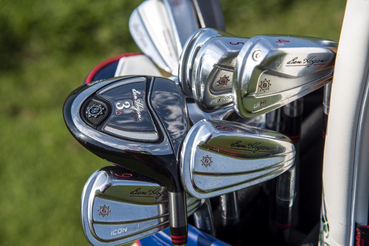 ben hogan irons in a golf bag