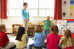 young boy doing show and tell