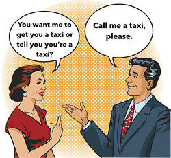 man and woman talking with speech bubbles