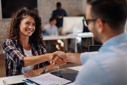 Handshake after successful job interview