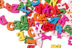 jumble of colorful letters