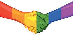 Rainbow Hands Shaking Hands As Understanding Gender Terms
