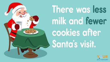 less vs fewer in a Santa sentence example