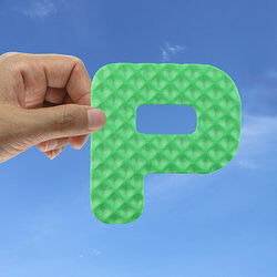 hand holding capital letter p