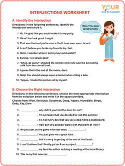 interjections worksheet questions