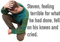 man on his knees