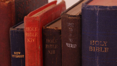 Multiple bibles on a shelf