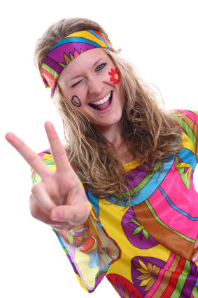 Girl dressed as a 1960s hippie as 1960s slang