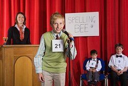Student at a spelling bee