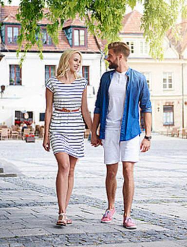 romantic couple walking hand in hand