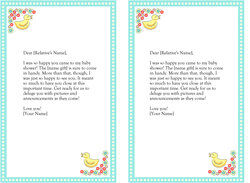 blue baby shower thank you notes