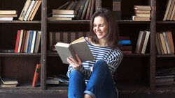 woman reading classic book