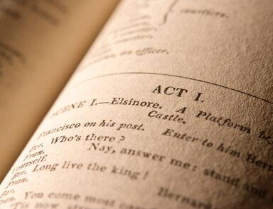 open copy of Shakespeare's Hamlet
