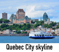 view of a boat and Quebec City