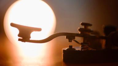 Closeup of telegraph machine