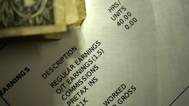 Pay Stub and Cash