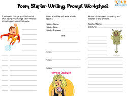 poem starter writing prompt worksheet