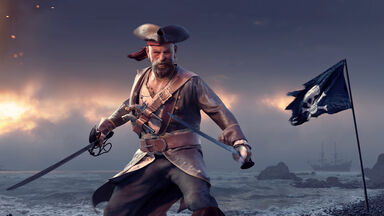 pirate holding sword next to flag