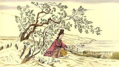 Chinese woman under tree speaks extinct Asian language
