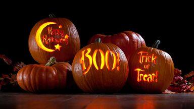 spooky halloween words carved pumpkins
