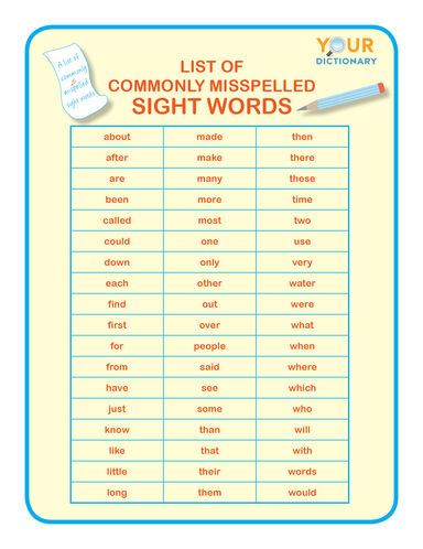 list of commonly misspelled sight words