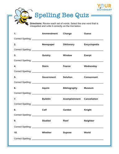 spelling bee quiz for grades 3-5