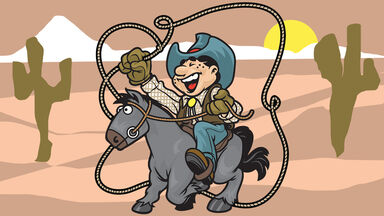funny cowboy on horse laughing in desert